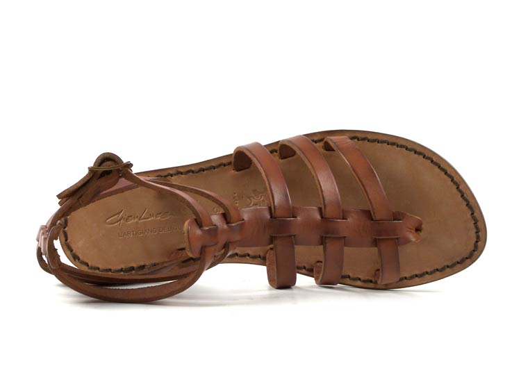 Details about Handmade flat gladiator sandals for women Made in Italy in tan genuine leather