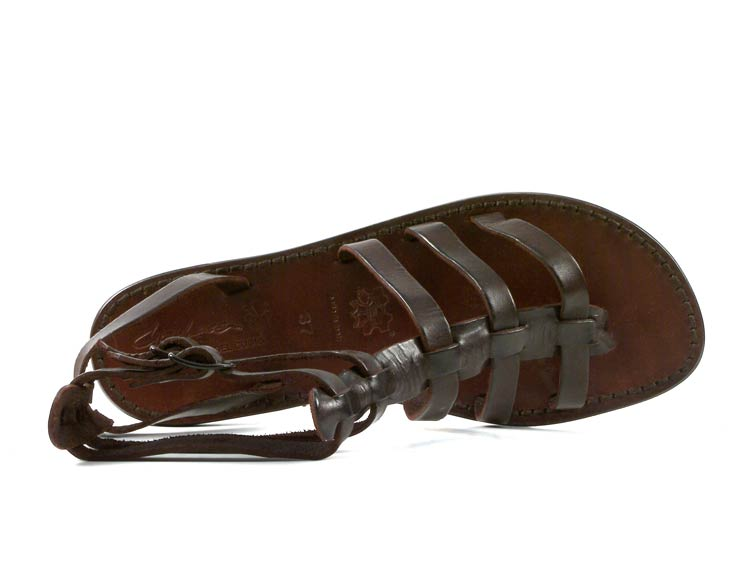 Dark-brown-gladiator-sandals-for-women-in-real-leather-Handmade-in-Italy