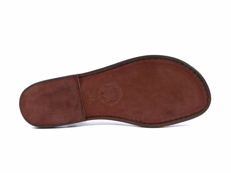 Damenschuhe ankle strap slides Sandales handmade in Dark Braun Leder handmade Sandales in  a8249b