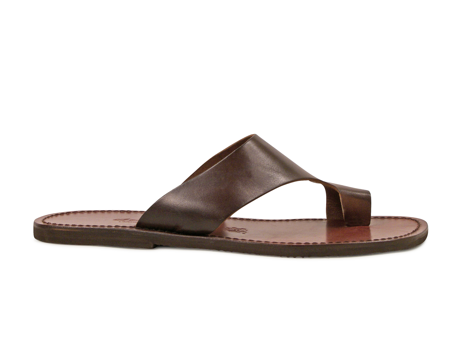 d51902f98ec0d7 Dark brown leather thong sandals for men Handmade in Italy .