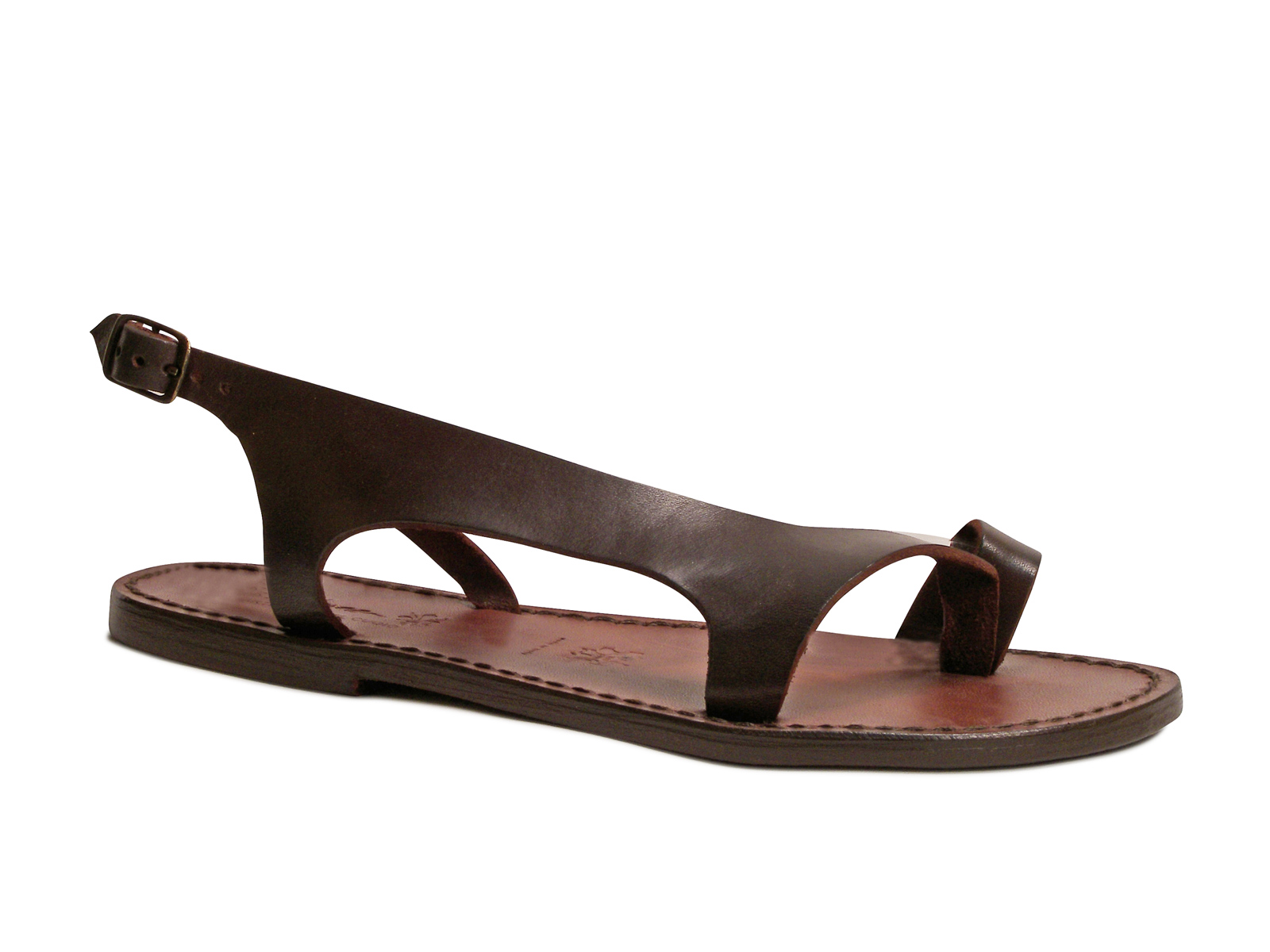 Details about Handmade brown genuine leather thong sandals for women Made in Italy