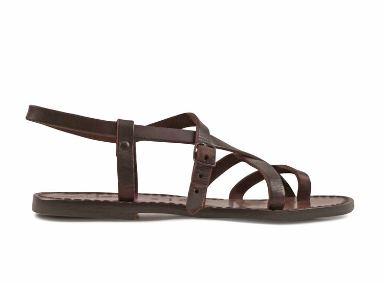 74389926f Womens italian leather ankle strap thong sandals dark brown hand ...