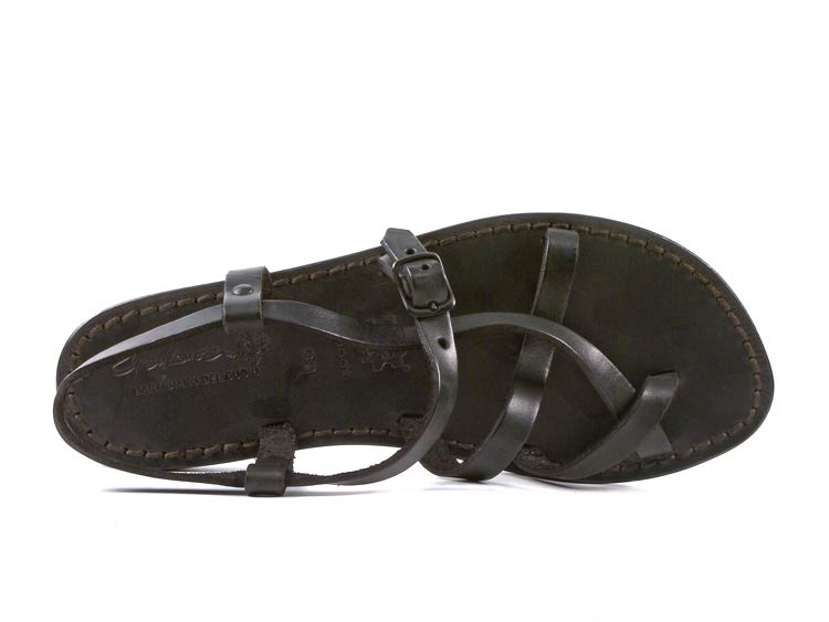 90dda56fae56d Details about Women's black strappy flat sandals handmade in Italy in  genuine leather