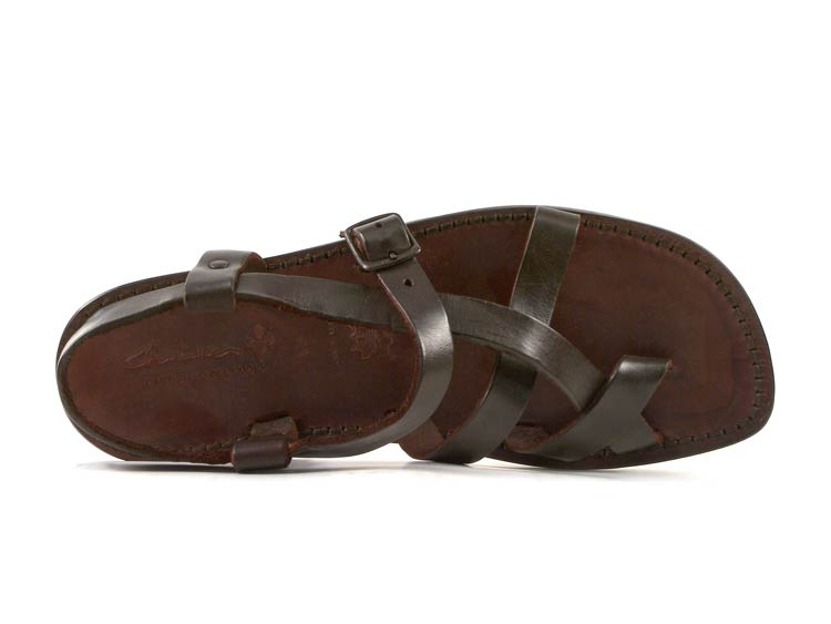 Handmade Handmade Handmade men's ankle strap strapped sandals in dark brown leather 3a53e1