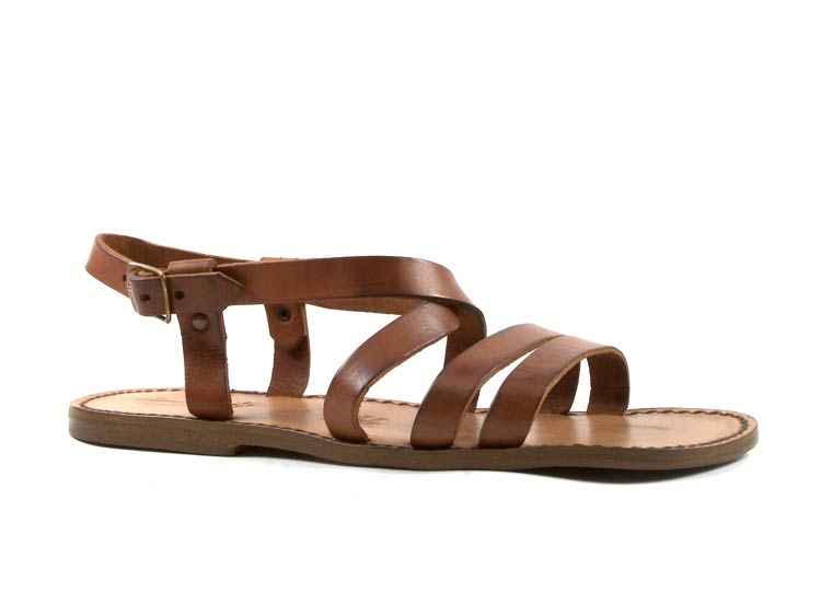 handmade in italy mens tan real leather strapped flat