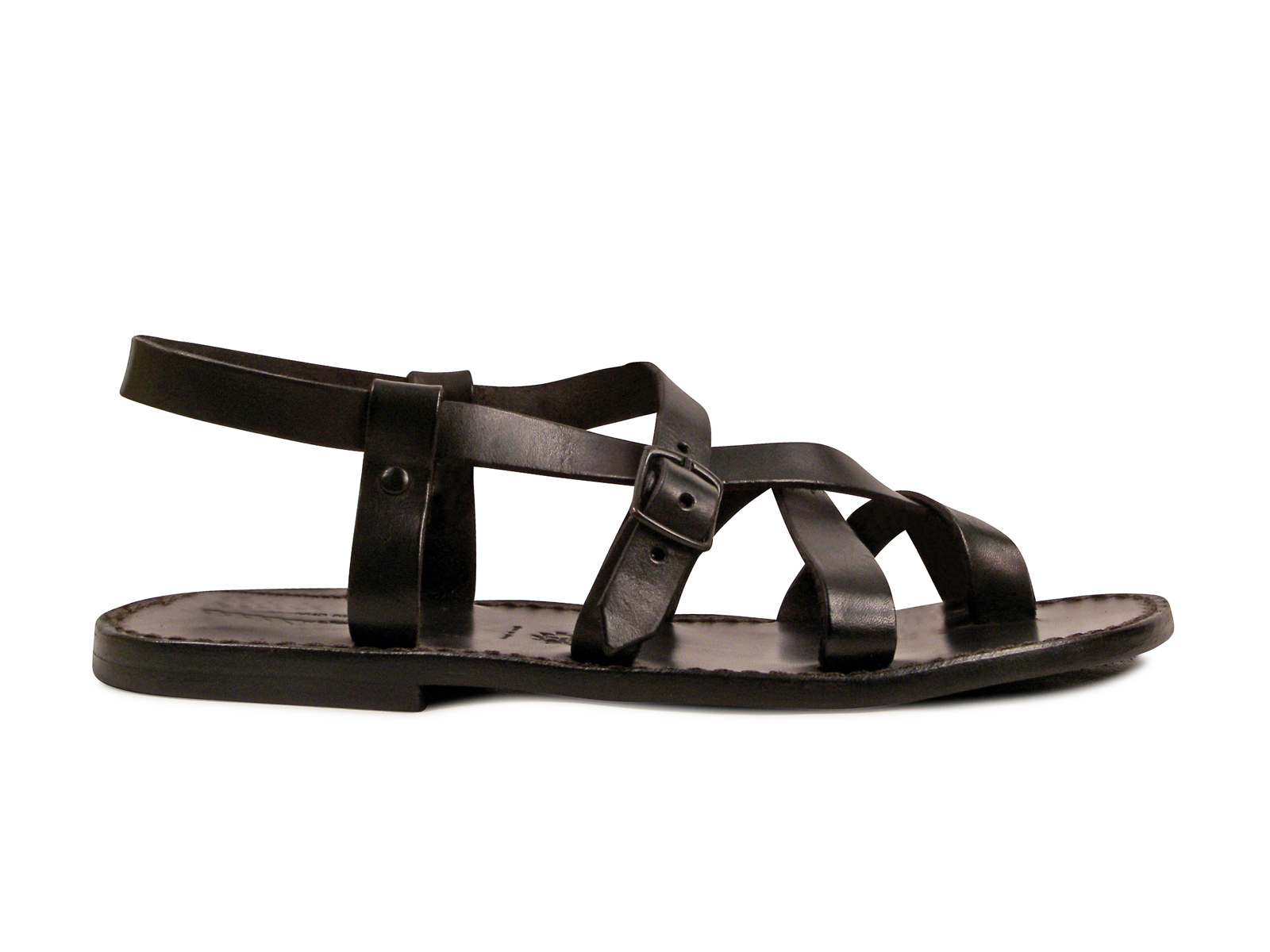 f6116798740 Gladiator ankle strap strapped thong sandals for men in black real ...