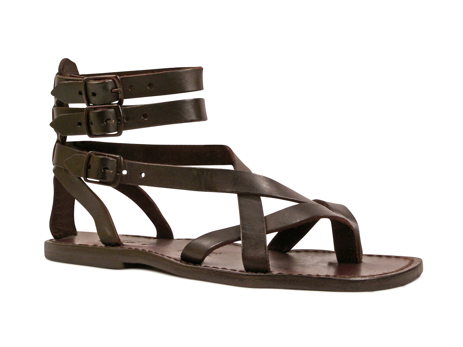 Handmade Gladiator Sandals For Men Made In Italy In Brown