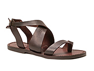 Women sandals in Dark Brown Leather handmade in Italy