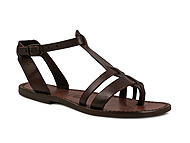 Women's leather flat brown sandals Handmade in Italy