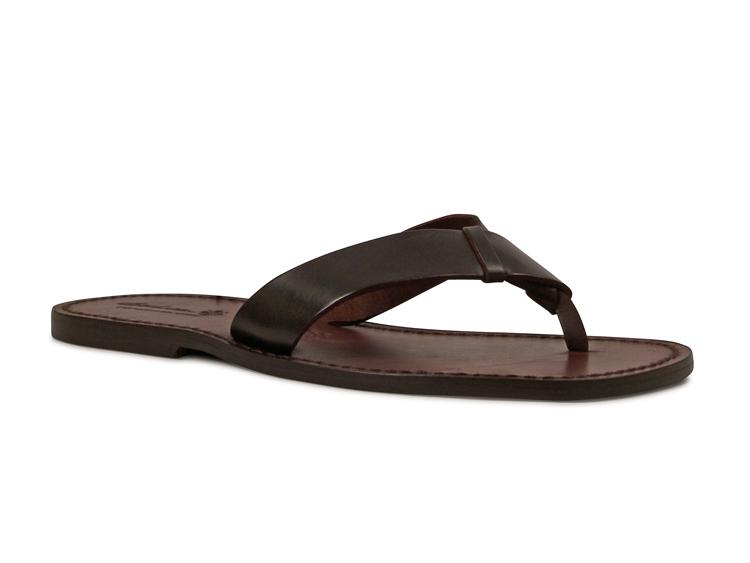Handmade Mens Dark Brown Leather Flip Flops Thong Sandals