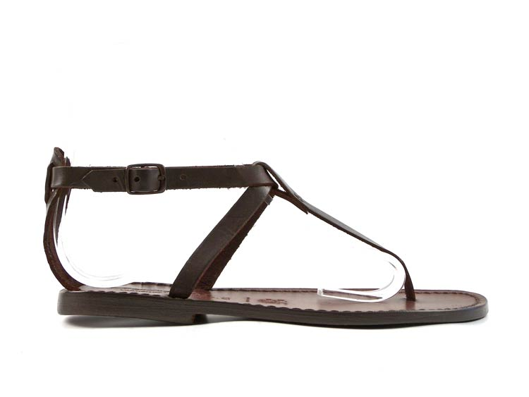 Details about Handmade women's t strap thong sandals dark brown genuine leather Made in Italy