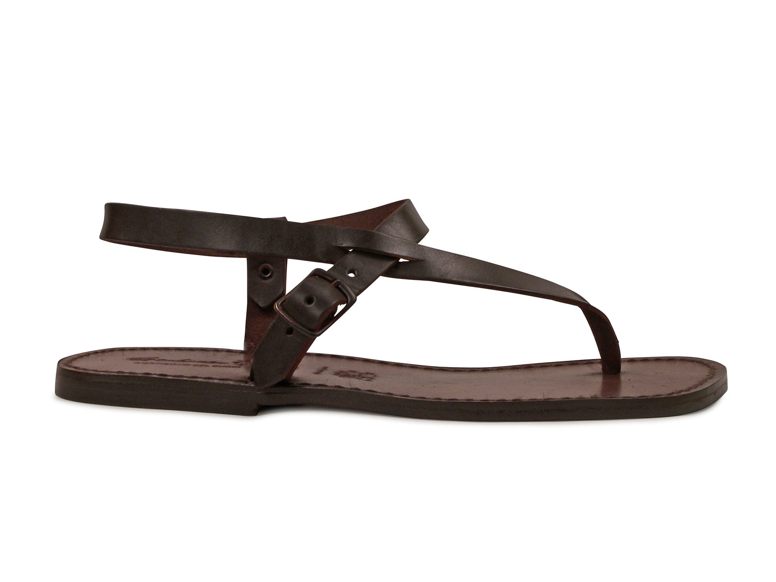 08ee9ee44ff973 Handmade brown leather ankle strap thong sandals for men