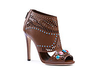 Gucci Lika laser-cut nut brown leather ankle boot