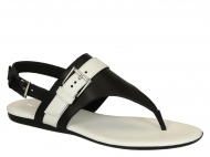 Hogan H133 leather flip-flops sandals with contrasting strap and side buckle.