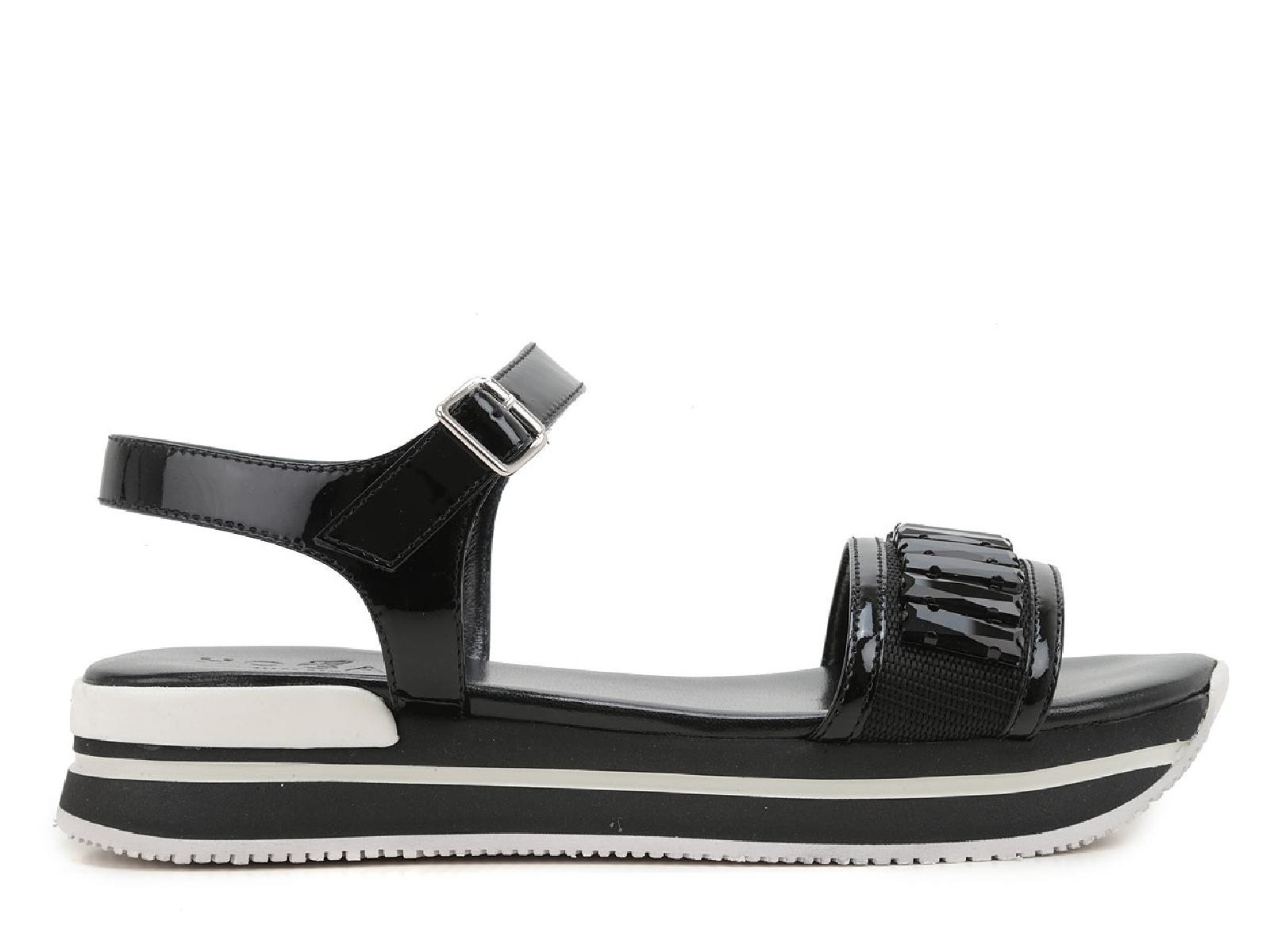 Hogan black leather low wedges ankle strap sandals with ...