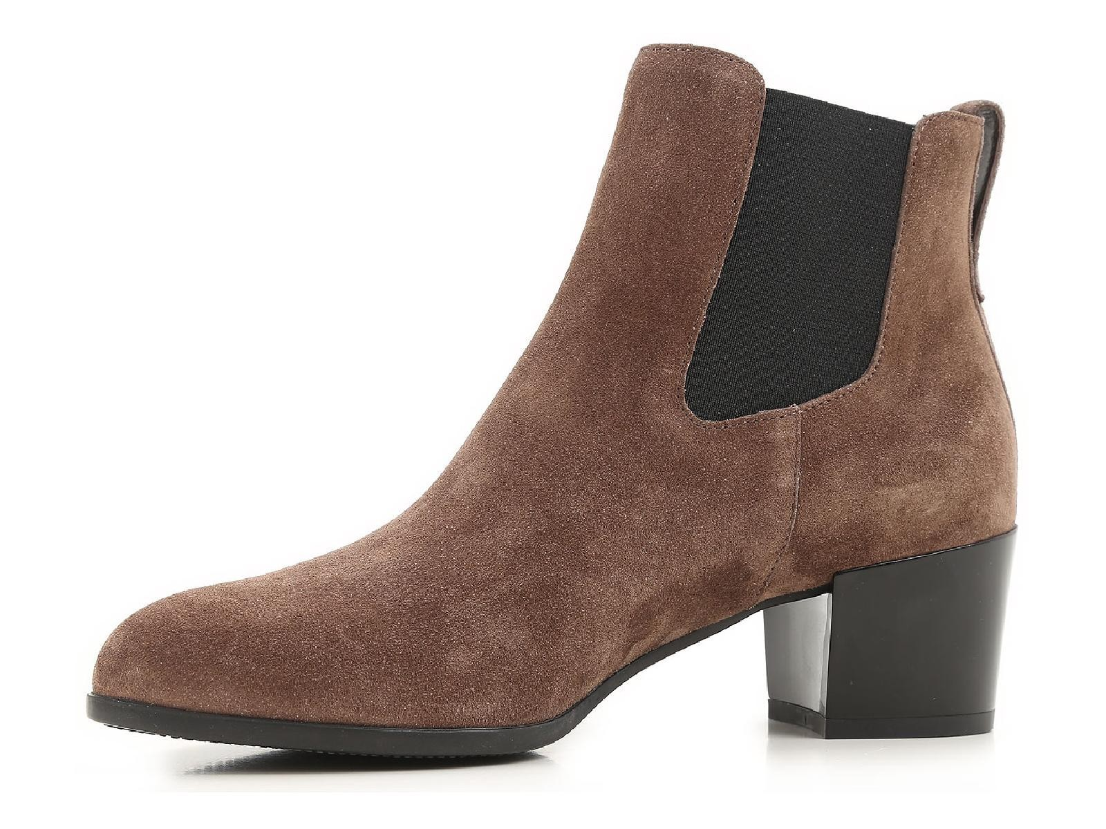 heeled chelsea boots in brown suede leather