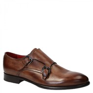 Handmade double monk strap mens shoes brown leather
