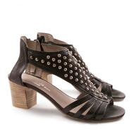 Handmade heeled sandals in genuine leather