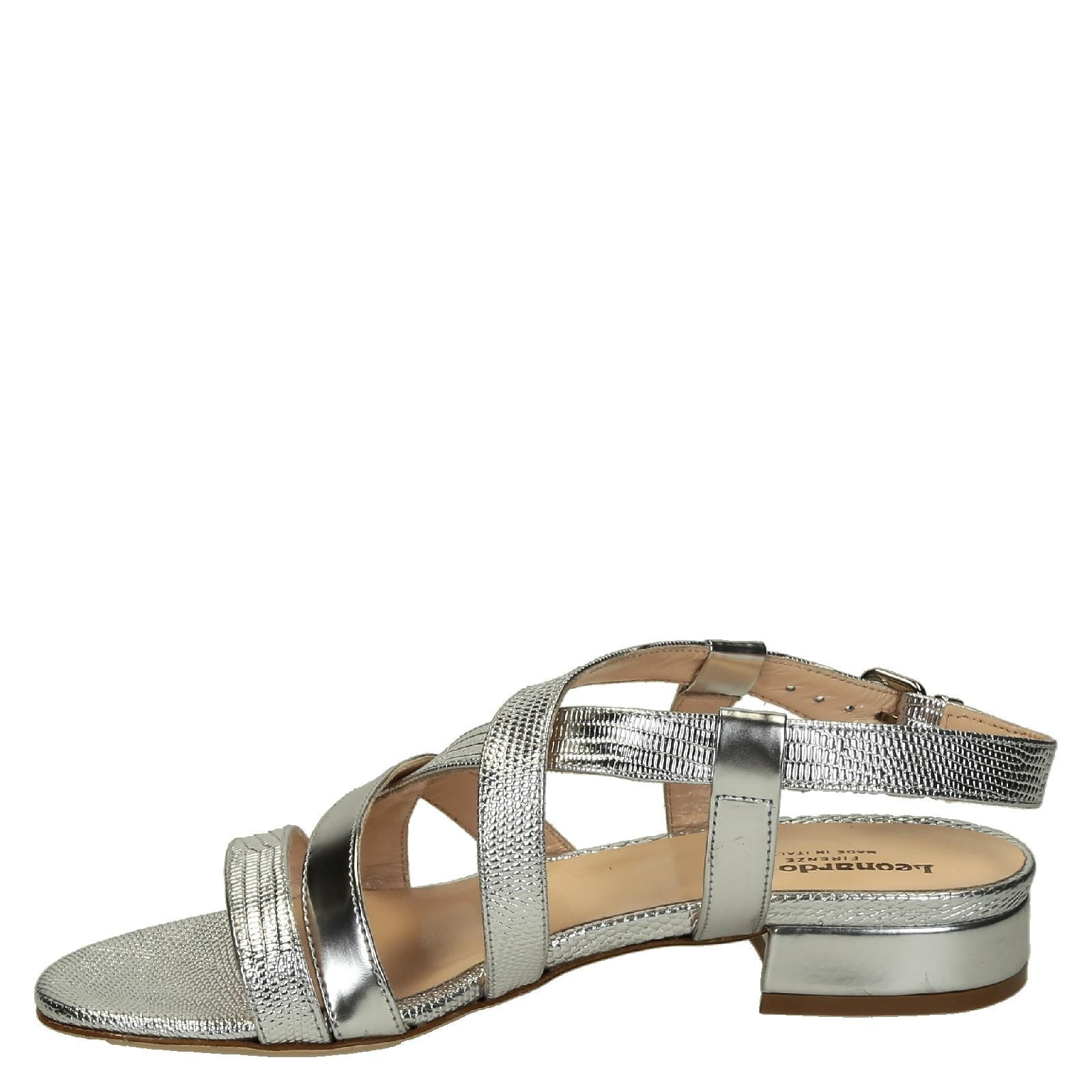 Women's low heels silver metallic leather strappy sandals ...