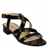 Low heels black leather strappy sandals for women