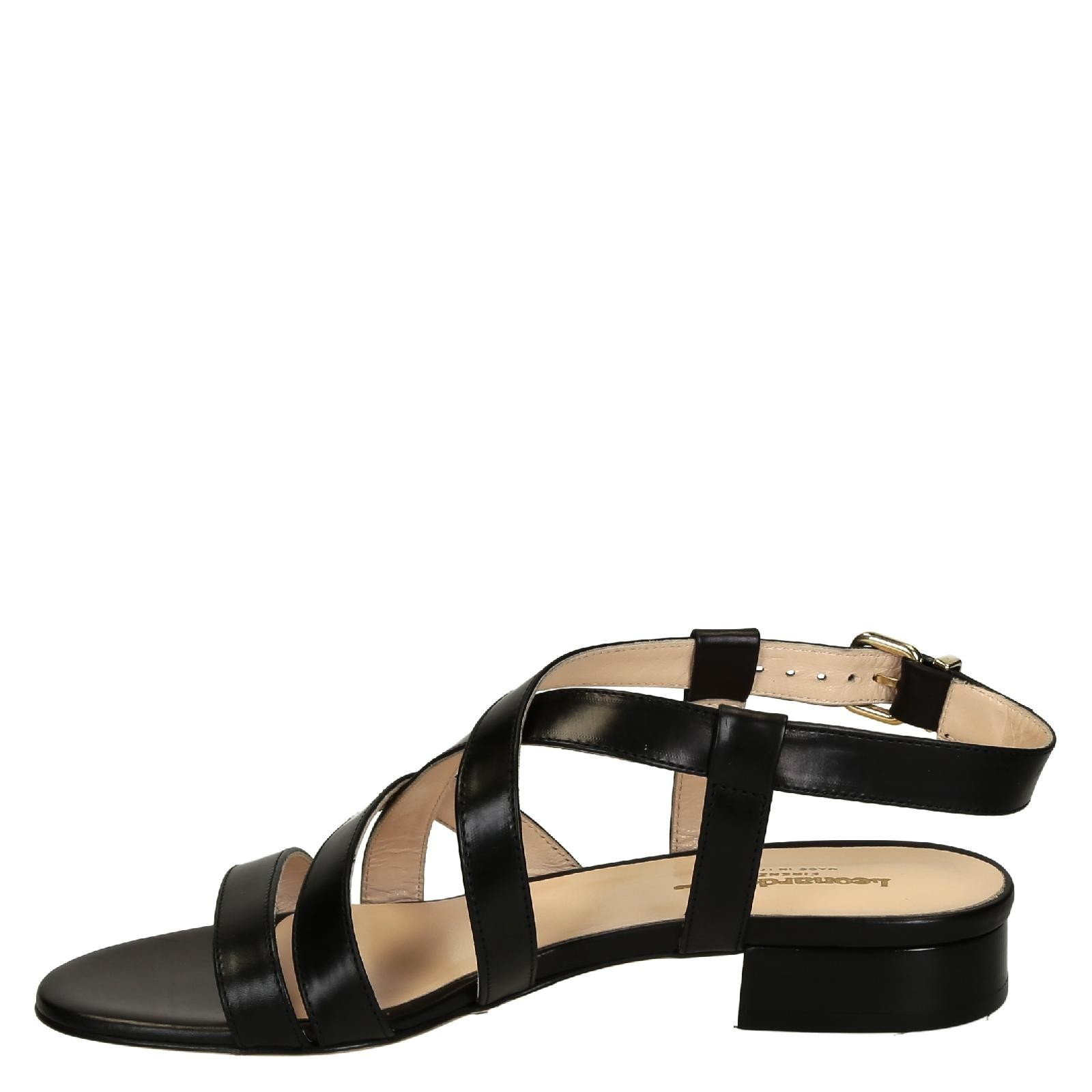 Black leather sandals low heel -  Low Heels Black Leather Strappy Sandals For Women 3