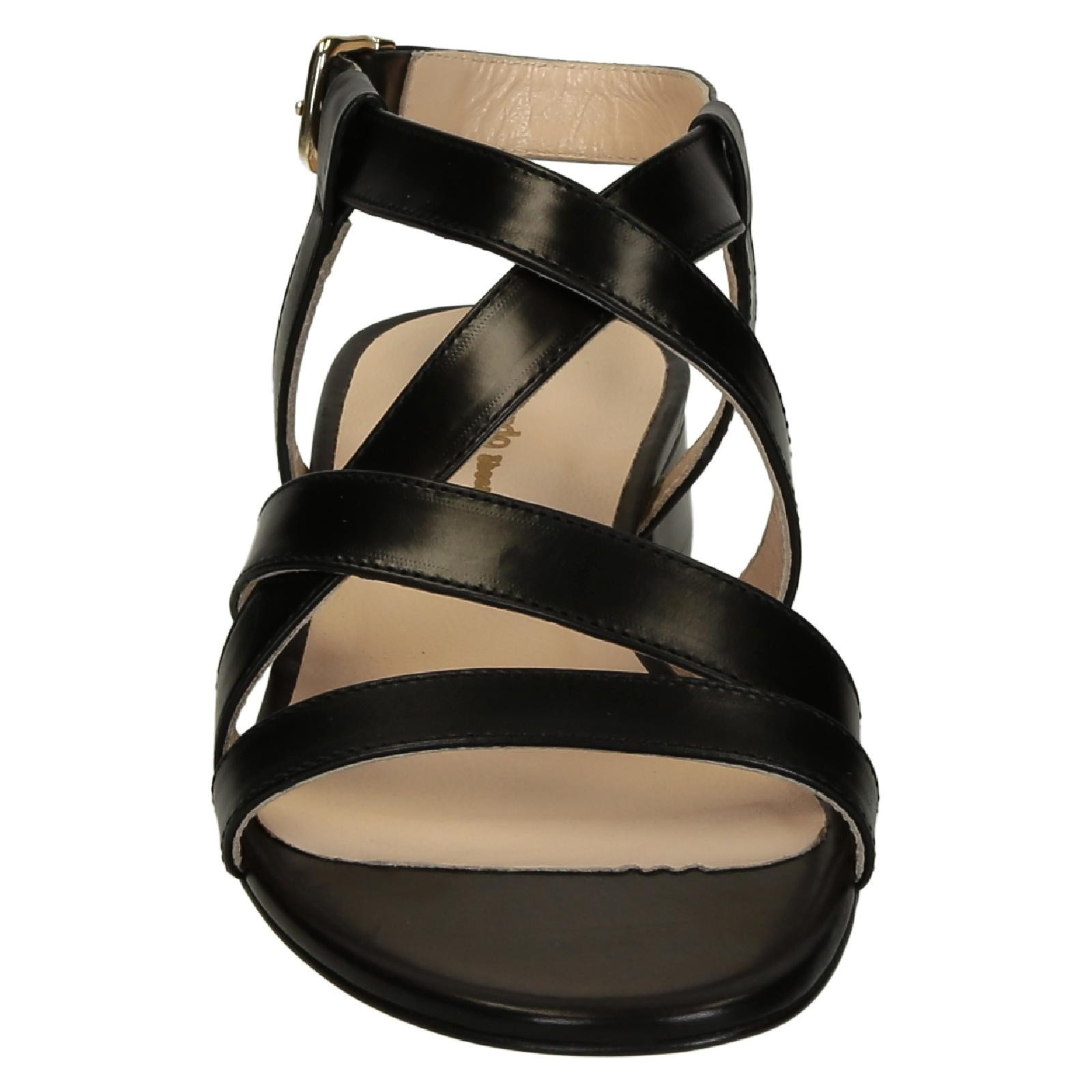 Black leather sandals low heel -  Low Heels Black Leather Strappy Sandals For Women 4