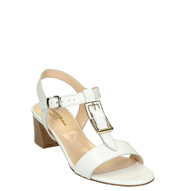 White leather heeled strappy sandals handmade