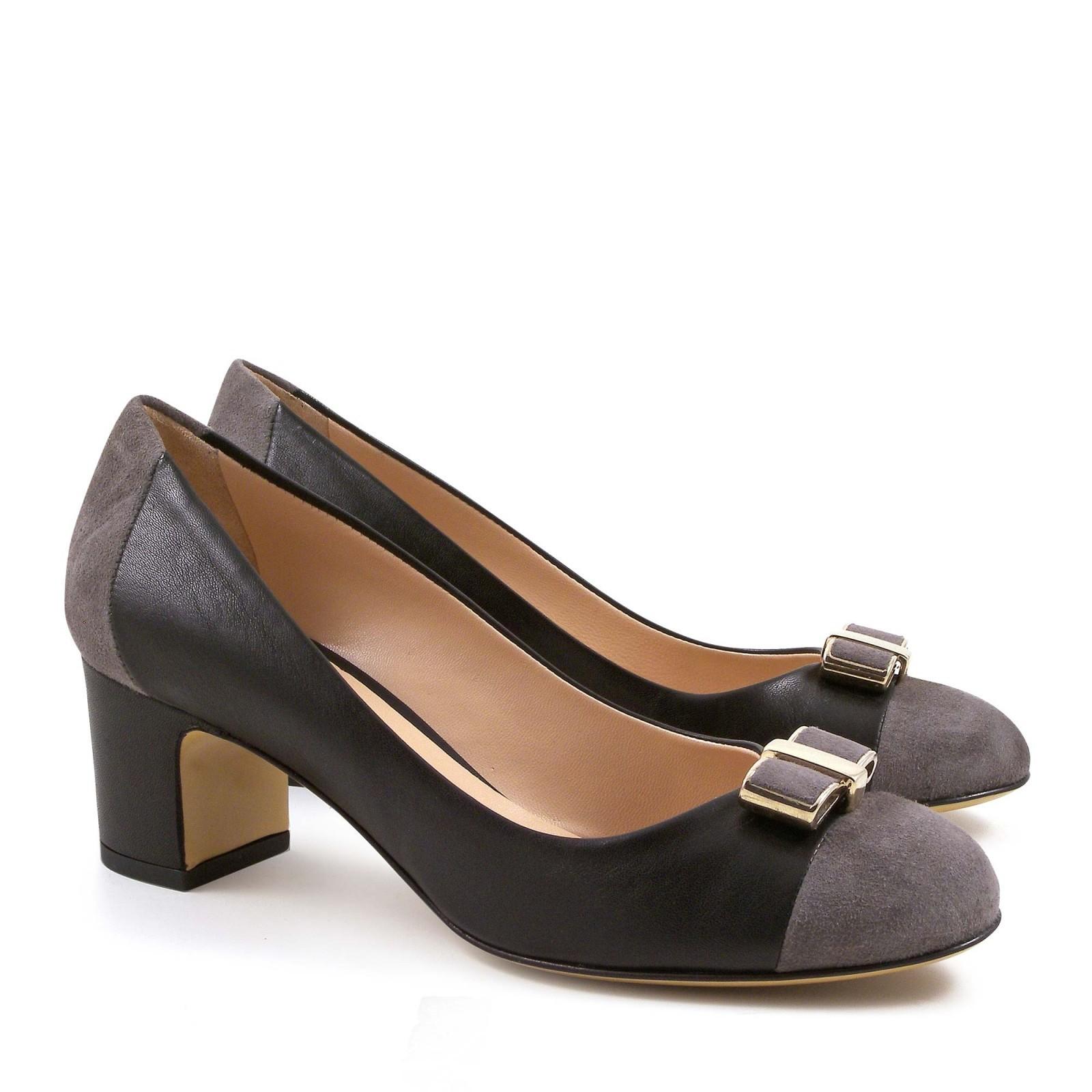italian pumps shoes in black soft leather medium heels