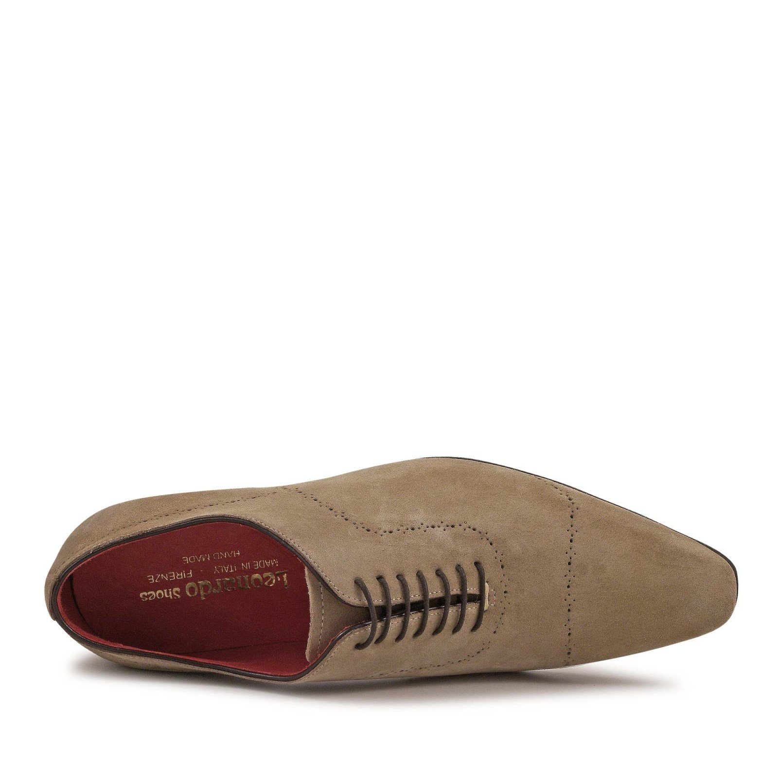 Handmade men s brogues shoes in fossil suede leather 3S