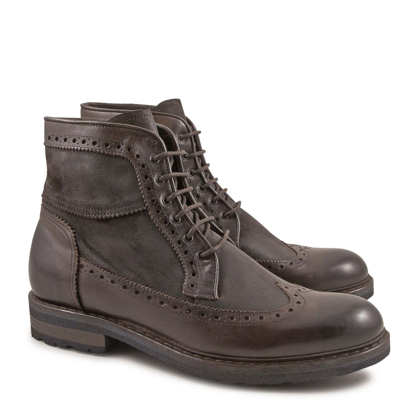 handmade s wingtip boots in vintage chocolate leather