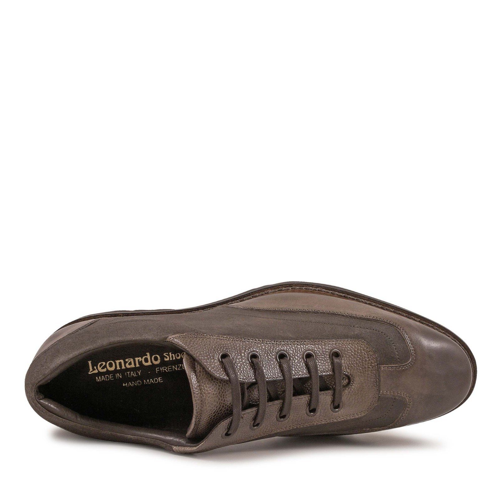 Italian shoes with laces handmade in taupe leather italian boutique