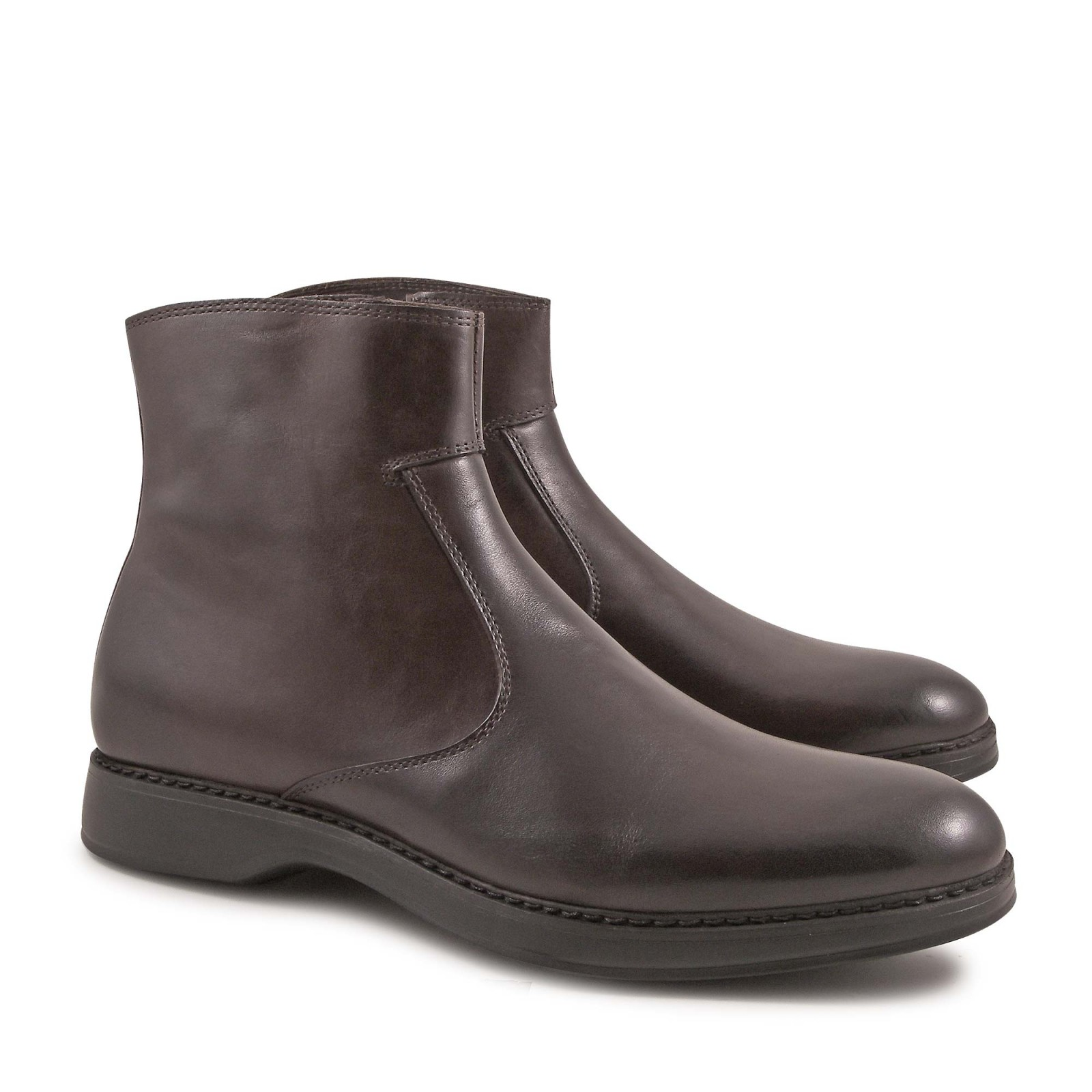 handmade s ankle boots with zip in chocolat calf