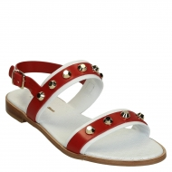 White/red flat leather sandals with metal studs