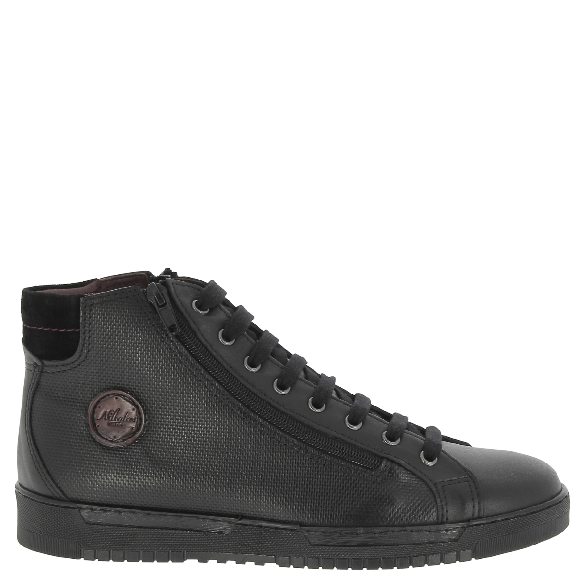 Nikolas-men-039-s-hi-top-trainers-in-black-Calf-leather-with-suede-ankle-detail thumbnail 8
