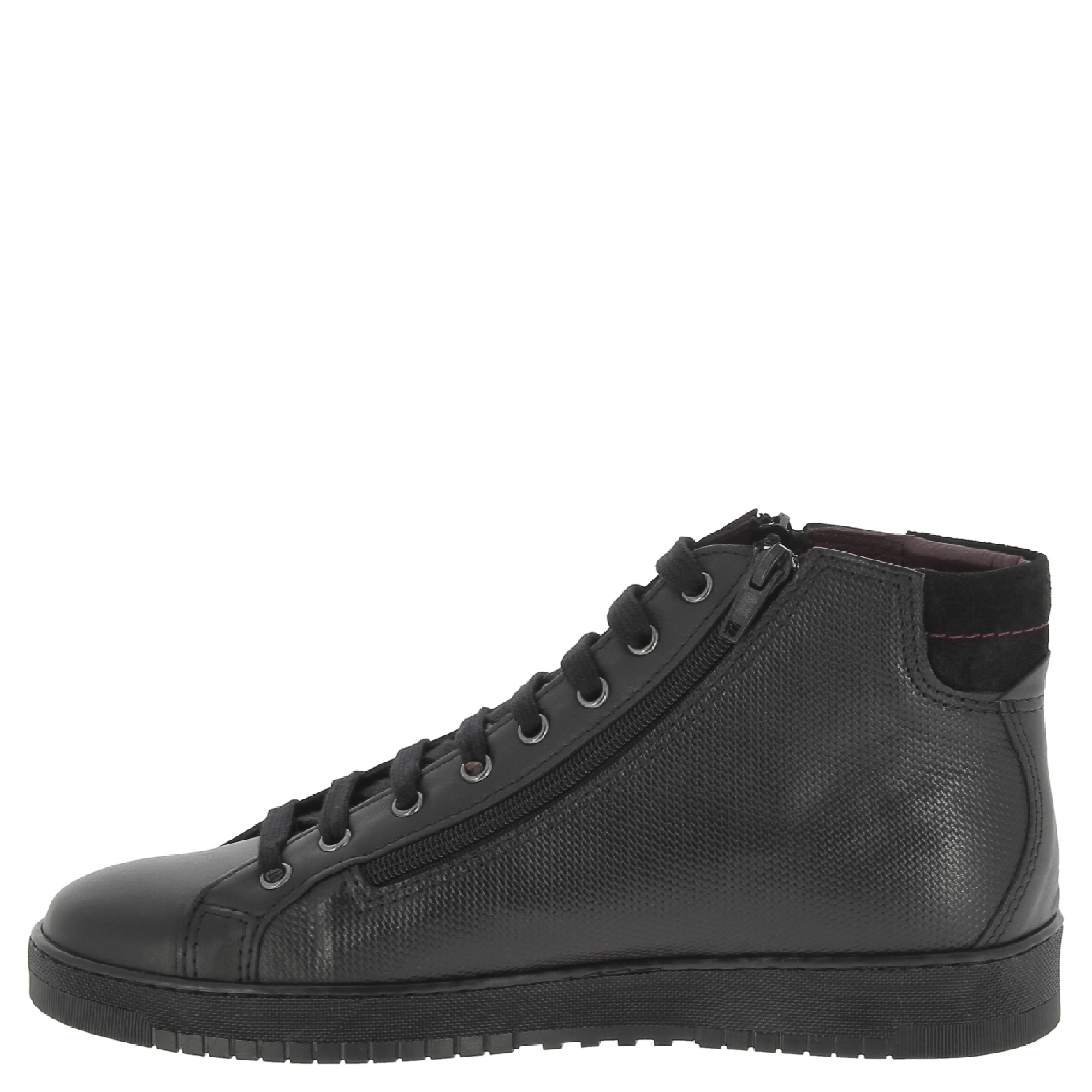 Nikolas-men-039-s-hi-top-trainers-in-black-Calf-leather-with-suede-ankle-detail thumbnail 9