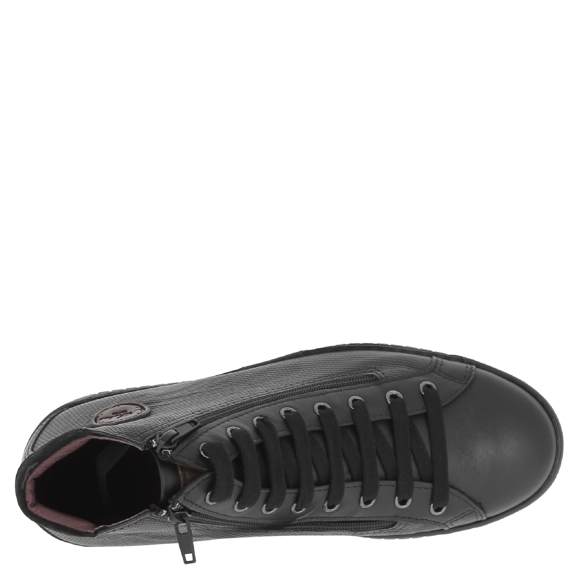 Nikolas-men-039-s-hi-top-trainers-in-black-Calf-leather-with-suede-ankle-detail thumbnail 11