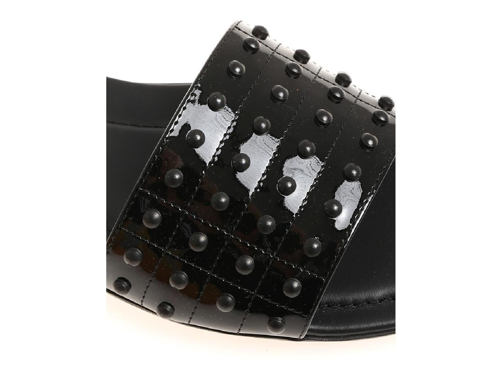 Tod-039-s-black-patent-leather-flat-slide-mules-italian-luxury-sandals-with-studs thumbnail 8